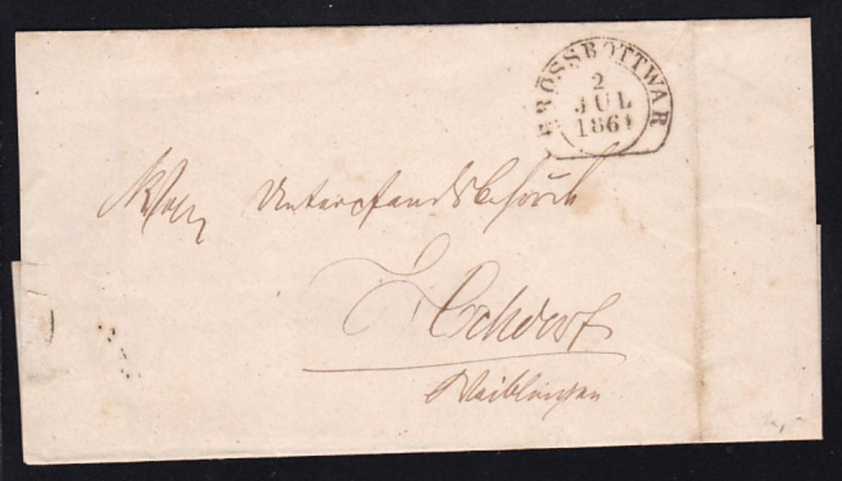 Großbottwar Steigbügelstempel GROSSBOTTWAR 2 JUL 1861 auf Briefhülle