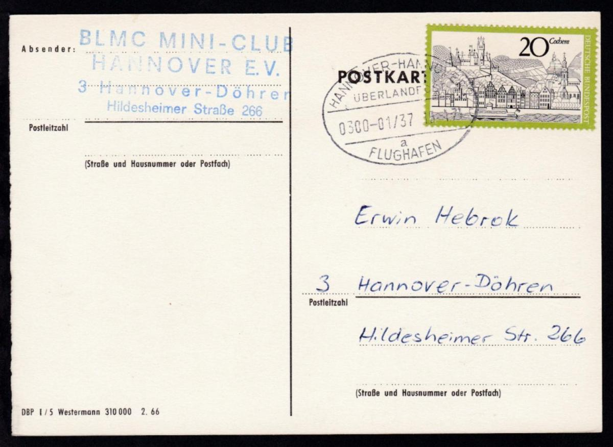 HANNOVER-HANNOVER FLUGHAFEN ÜBERLANDPOST a 0300-01/37 15.1.71 auf CAK 0