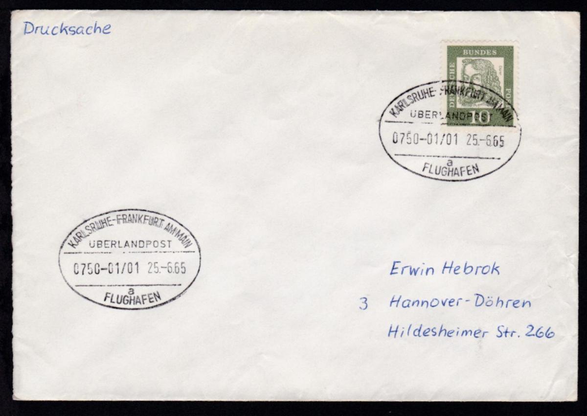 KARLSRUHE-FRANKFURT AM MAIN FLUGHAFEN ÜBERLANDPOST a 0750-01/01 25.6.65 0