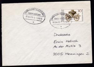 HAMM-FLUGHAFEN KÖLN/BONN ÜBERLANDPOST a 01/470-5 1.10.76 auf Brief