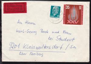 BERLIN-KARL-MARX-STADT BAHNPOST f ZUG 2359 17.12.73 rs auf Eilbrief ab Zeuthen