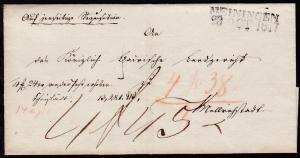 Meiningen L2 MEININGEN 20 OCT 1847 auf Briefhülle nach Mellrichstadt,