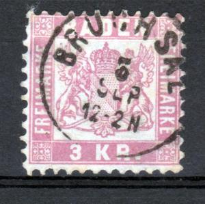 Wappen 3 Kr. mit K1 BRUCHSAL 3 SEP