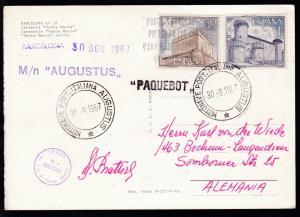 MOTONAVE POST. ITALIANA AUGUSTUS 30.8.1967 + L1 + Bordstempel auf CAK