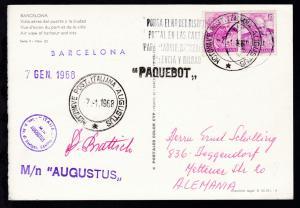 MOTONAVE POST. ITALIANA AUGUSTUS 7.1.1968 + L1 + Bordstempel auf CAK