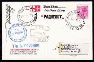 PIROSCAFO ITALIANO CRISTOFORO COLOMBO 28.3.1974 + L1 + Bordstempel auf CAK
