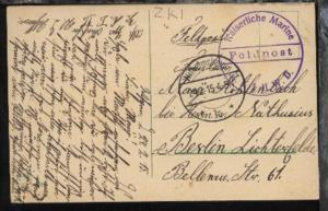 OSt. Wilhelmshaven 24.2.15 + viol. K1 Feldpost ZK I II. WD auf AK