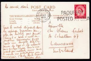 SOUTHAMPTON PAQUEBOT 19 OCT 1953 PAQUEBOT POSTED AT SEA