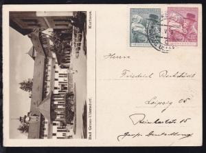 Geburtstag Masaryk auf Postkarte mit Bild (Bad Gross-Ullersdorf Kurhaus)