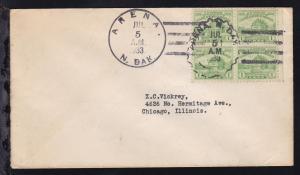 Maschinenstempel ARENA N. DAK. JUL 5 1933 + Arena-Figuren-Stempel auf Brief
