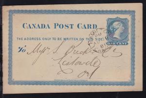 Ganzsache 1 C. mit rs Firmenzudruck (Patton & Co, Toronto) ab Hamolton AU 16 81