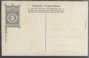 Breslau Offizielle Festpostkarte der 56. General-Versammlung der Katholiken