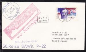 R2 SCHIP NAVIRE + Ost. Antwerpen 18.10.76 + Cachet MS Badenstein auf Brief
