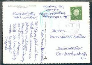 DSP HAMBURG-HELGOLAND DES Wappen von Hamburg HADAG a 19.9.58 + Bord-Stpl. auf AK
