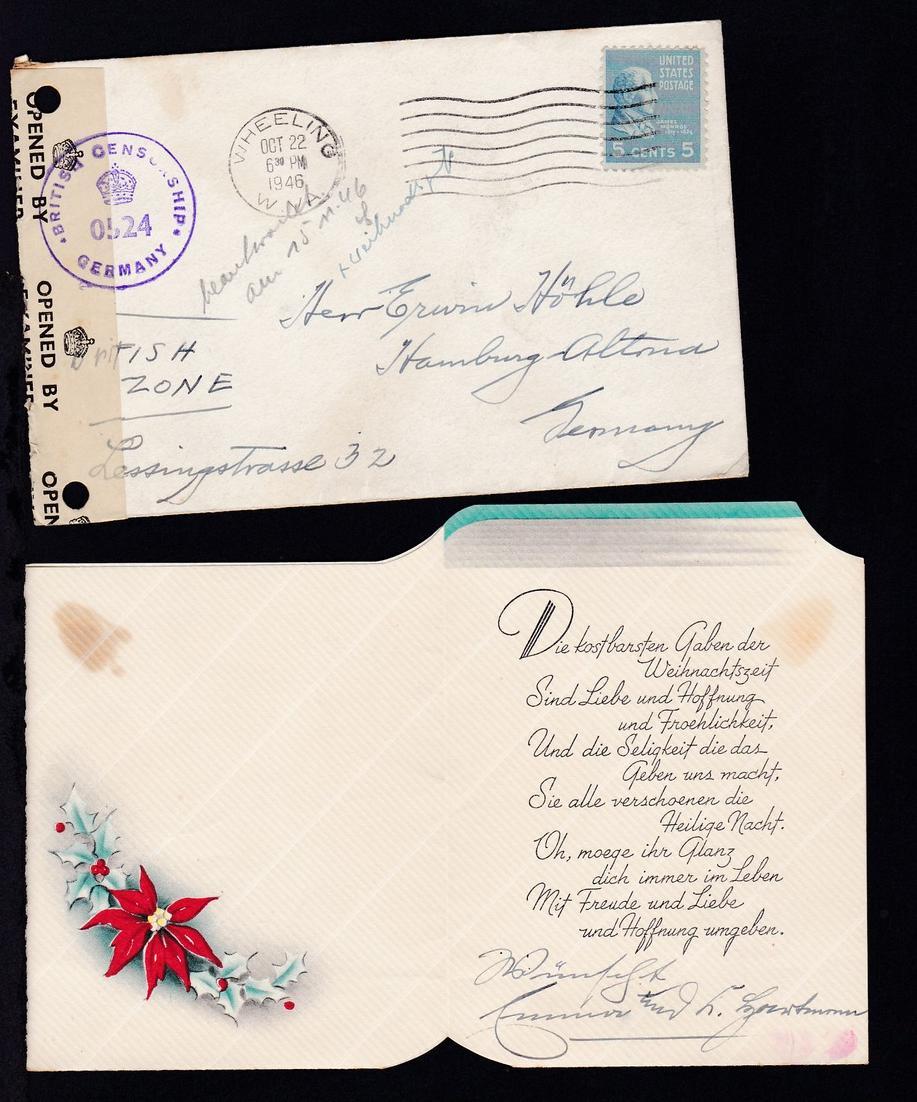 Präsidenten 5 C. auf Brief mit Inhalt (Weihnachtsgrüsse) ab Wheeling W VA 0