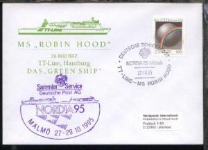 DSP TT-LINE-MS ROBIN HOOD NORDIA 95 MALMÖ 27.10.95 + Cachet auf Sonder-Umschlag