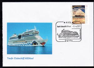 KIEL 24114 Taufe Clubschiff AIDAsol Briefmarkenschau 9.4.2011 blanko auf