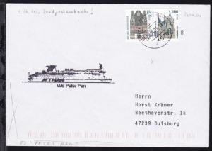 OSt. Lübeck-Travemünde 20.10.01 + Cachet MS Peter Pan auf Brief