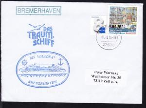 OSt. Bremerhaven 01.8.16 + R1 BREMERHAVEN + Cachet MS Amadea auf Brief