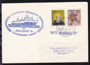 OSt. Lübeck-Travemünde 7.10.85 + Cachets MS Railship II auf Brief