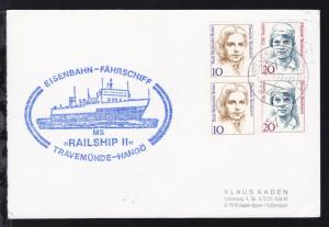 OSt. Lübeck-Travemünde 30.5.91 + Cachet MS Railship II auf Postkarte