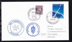 OSt. Hammerfest 18.07.94 + Cachet MV Hanseatic auf Brief