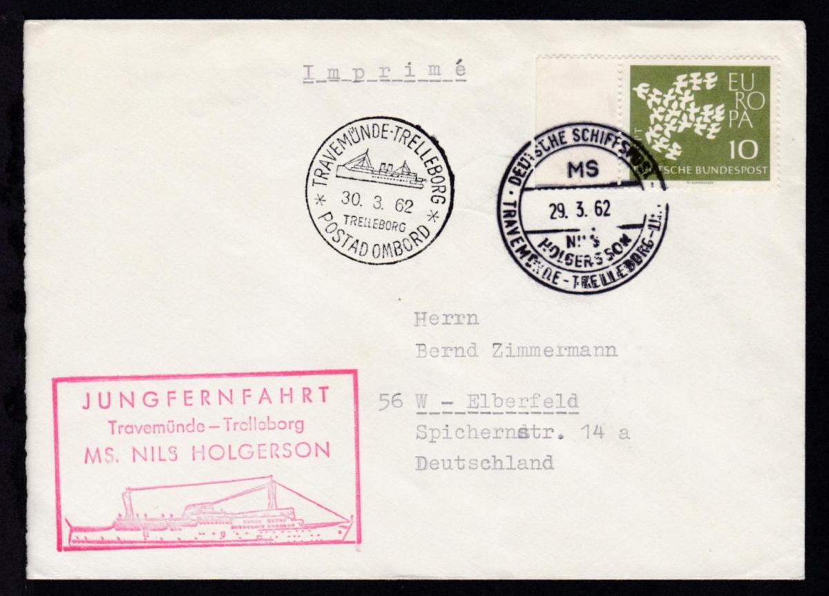 DEUTSCHE SCHIFFSPOST MS NILS HOLGERSSON TRAVEMÜNDE-TRELLEBORG-LINIE 29.3.62 + 0
