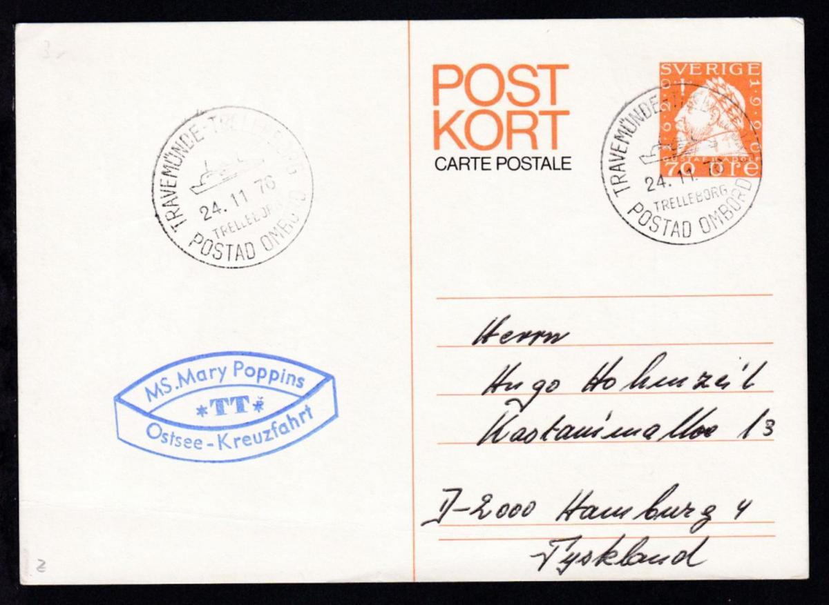 TRAVEMÜNDE-TRELLEBORG TRELLEBORG POSTAD OMBORD 24.11.76 + Cachet MS Mary Poppins 0