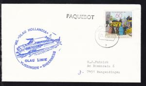 OSt. Vlissingen 28.X.81+ Cachet MS Olau Hollandia auf Brief