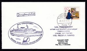 OSt. Kopenhagen 20.6.80 + R1 Jungfernfahrt + Cachet MS Frankfurt + L5