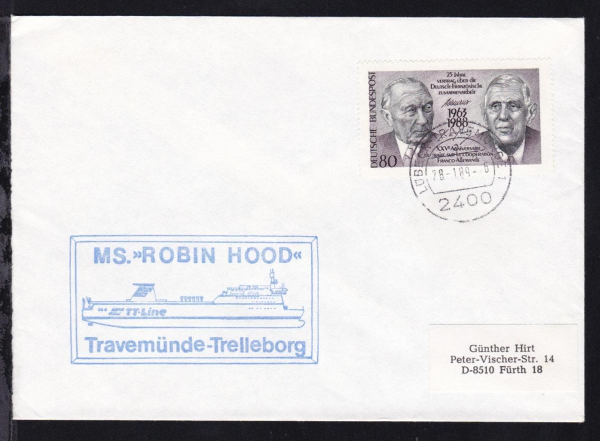OSt. Lübeck-Travemünde 28.1.89 + Cachet MS Robin Hood auf Brief 0