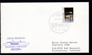 SASSNITZ 1 2355 TS-LINE Fähre 06.11.91+ Cachet MS Rügen auf Brief