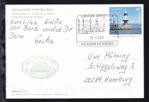 DEUTSCHE SCHIFFSPOST auf der Elbe RICKMER RICKMERS 29.1.2006 + Cachet auf CAK