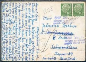 CAK ab Alteglossheim 9.2.59 an SS America nach New York mit L3 SHIP SAILED RETUR