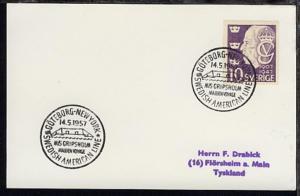 GÖTEBORG-NEW YORK SAL MS GRIPSHOLM MAIDEN VOYAGE 14.5.1957 auf PK