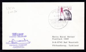 SASSNITZ 1 2355 TS-LINE Fähre 06.11.91 + Cachet MS Sassnitz auf Brief