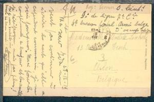 POSTES MILITAIRES BELGIQUE 8 29.XII.19 auf AK (Aachen) aus Aachen nach Belgien