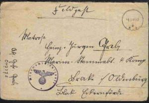 Tarn-Stpl. 8.11.41 + BfSt. Wehrmachtsdienstpost auf FP-Bf. an Marine-Stammabt. B