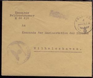 FP d 26.2.42 + undeutl. BfSt. auf Dienst-Bf., Abs.-Ang. M 44496