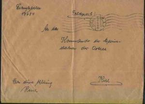 Maschinen-Stpl. Kiel 18.10.39 auf Dienst-Bf., Abs.-Ang. Dienststelle 17684