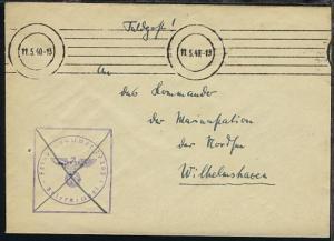 Maschinen-Tarn-Stpl. 11.5.40 + BfSt. 27363 (Sperrbrecher 4