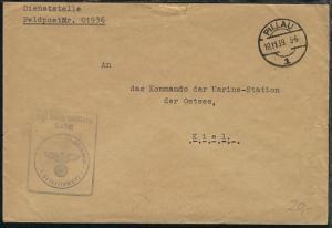OSt. Pillau 10.11.39 + stummer-BfSt. auf Dienst-Bf., Abs.-Ang. 01936
