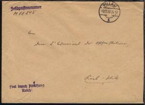 OSt. Pillau 5.12.39 auf Dienst-Bf., Abs.-Ang. M 00245 (1. Minensuch-Flottille)