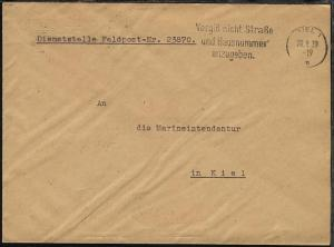 Maschinen-Stpl. Kiel 20.9.39 auf Dienst-Bf., Abs.-Ang. 23870
