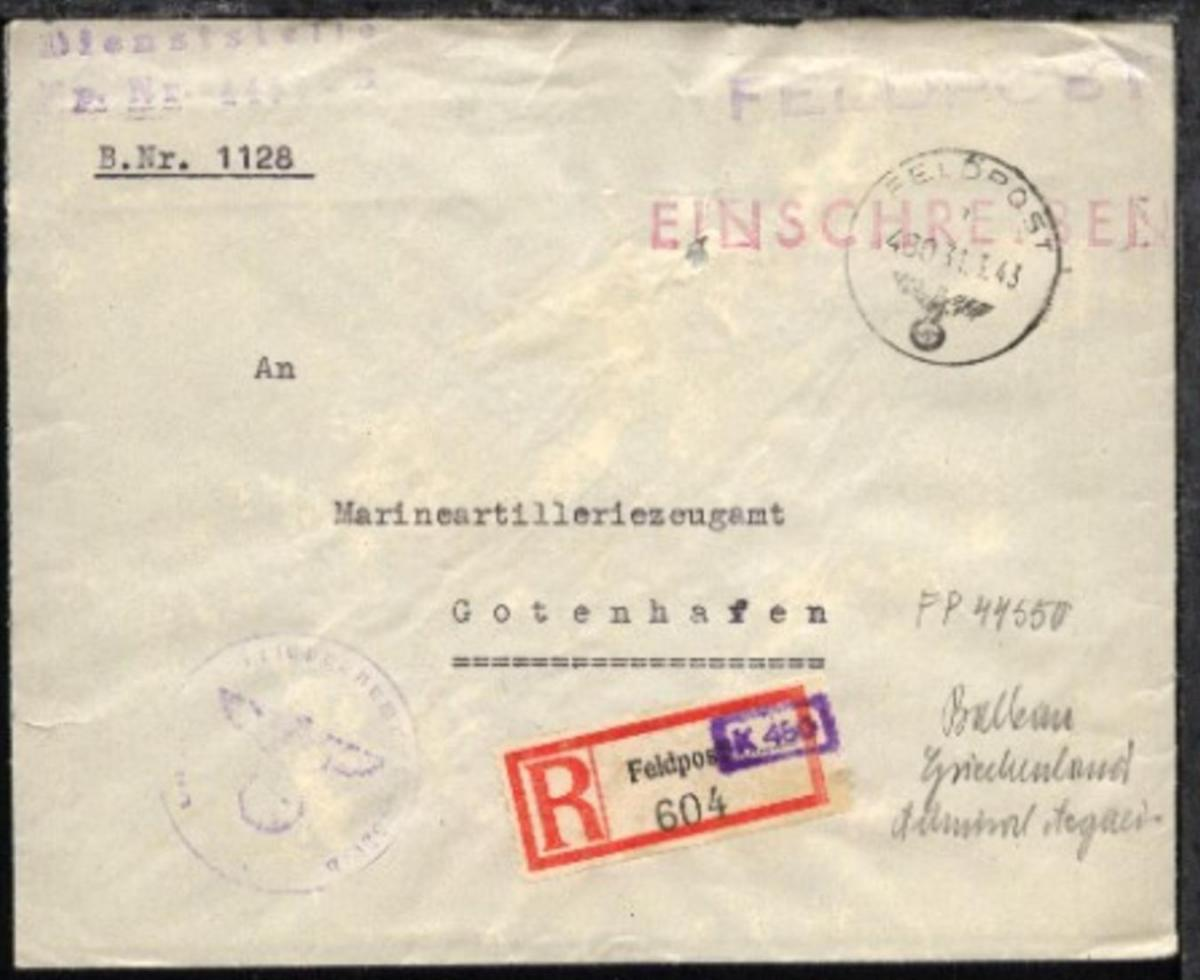 FP a 480 31.3.43 + Dienststellen-L2 + BfSt. 44550B (Admiral Ägäis) 0