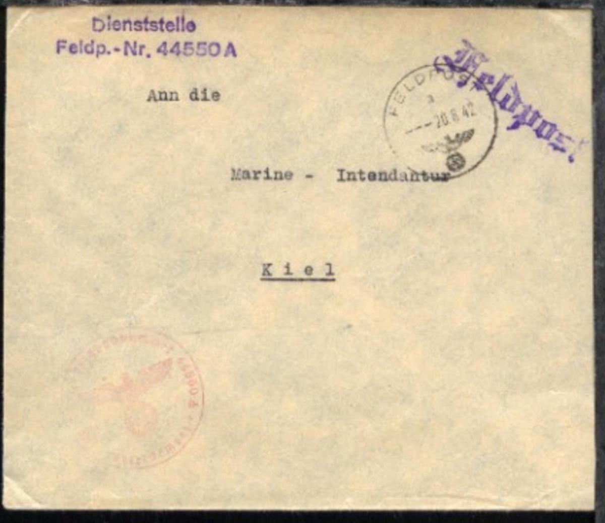 FP a 20.8.42 + Dienststellen-L3 + BfSt. 44550A (Admiral Ägäis) auf Dienst-Bf. 0