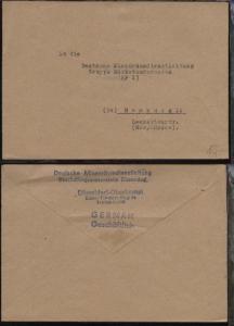 unfrankierter Bf. an Deutsche Minenräumdienstleitung Gruppe Marketenderwaren