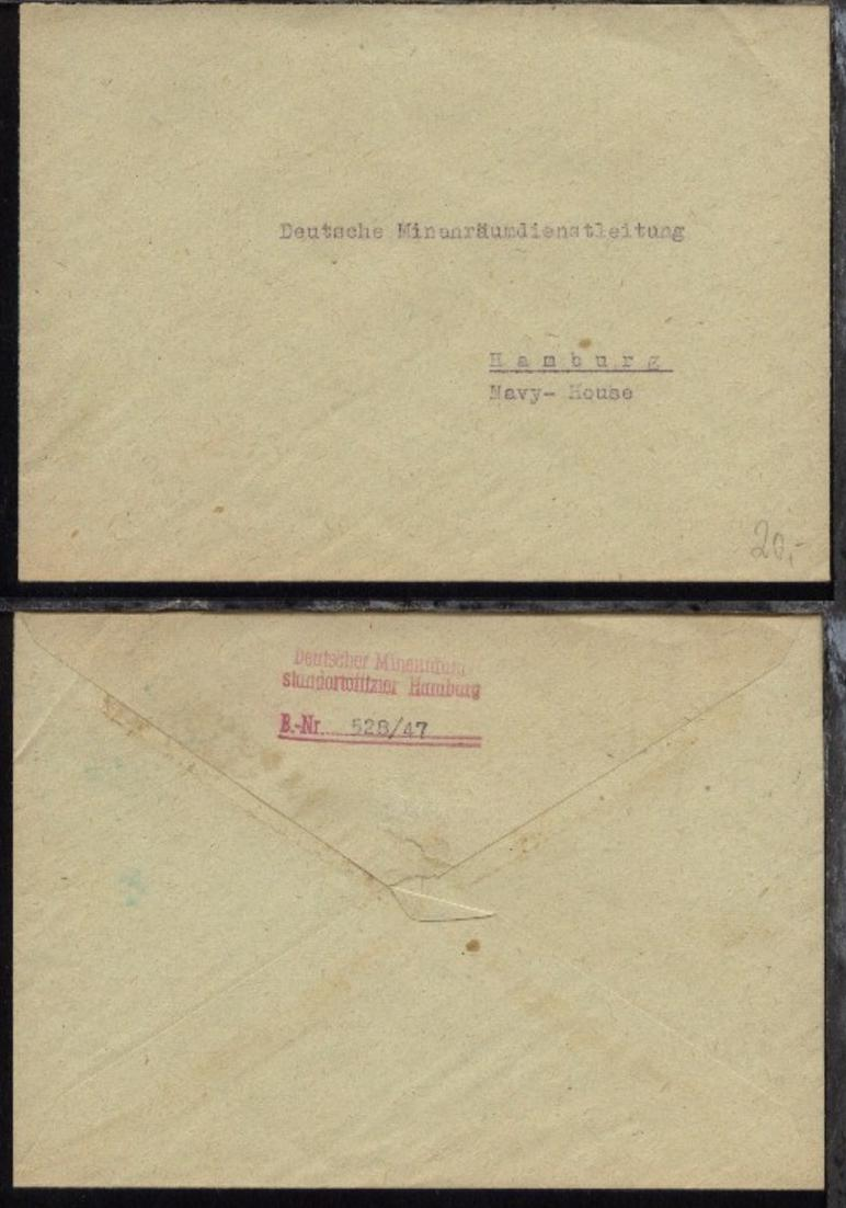 unfrankierter Bf. an Deutsche Minenräumdienstleitung 0
