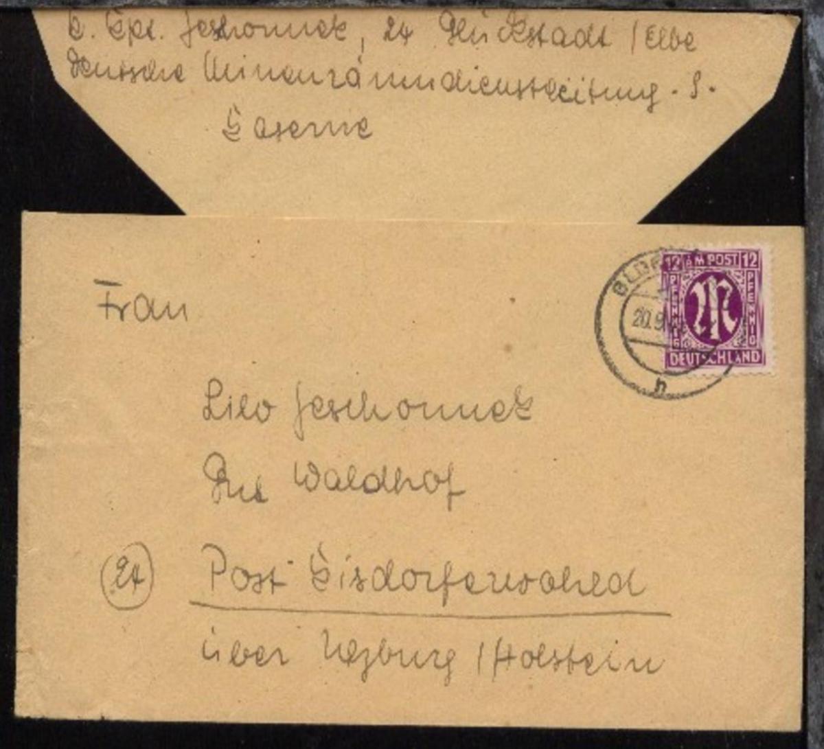OSt. Glückstadt 20.9.45 auf Bf., Abs.-Ang. K. Kpt. Geschonneck Glückstadt 0