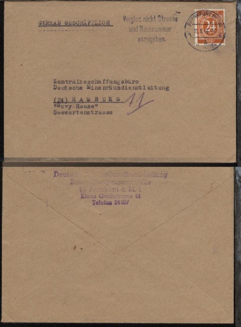 Maschinen-Stpl. Frankfurt/Main  11.9.46 auf Bf. an Zentralbeschaffungsbüro 0